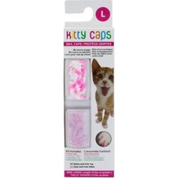 Kitty Caps Cat Nail Caps, Large, White with Pink Tips & Clear with Pink Glitter found on Bargain Bro India from Chewy.com for $12.99
