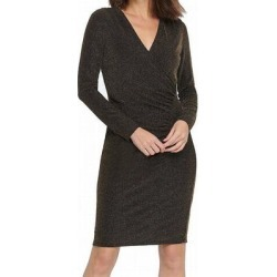 DKNY Women's Dress Gold Black Size 6 Sheath Shimmer Surplice Gathered (6)(polyester) found on Bargain Bro from Overstock for USD $43.30