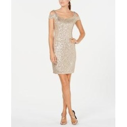Calvin Klein Women's Sequin Cold-Shoulder Dress Beige Size 10 (Beige - 0) found on Bargain Bro from Overstock for USD $40.13