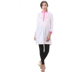 Handmade In-Sattva Women's Indian Dot Printed Kurta Tunic (India) (XL), White(cotton) found on Bargain Bro Philippines from Overstock for $27.89