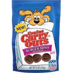 Canine Carry Outs Burger Minis Beef Flavor Dog Treats, 5-oz bag found on Bargain Bro from Chewy.com for $1.00