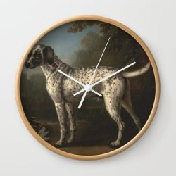Wall Clock | A Grey Spotted Hound By John Wootton by Artmasters - Natural - White - Society6 found on Bargain Bro India from Society6 for $22.39