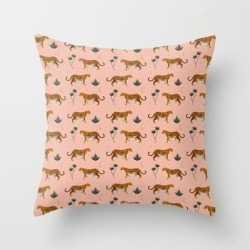 Couch Throw Pillow | Big Cat Pattern Softpink by Grace - Cover (16