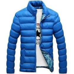 Man Down Coat Slim Warm Cotton Coat Colorful Blue M (XL), Men's found on MODAPINS from Overstock for USD $48.11