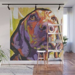 Wall Mural | Vizsla Dog Portrait Bright Colorful Fun Pop Art By Lea by Wilddogs - 8' X 8' - Society6 found on Bargain Bro from Society6 for USD $182.39