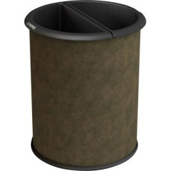 Commercial Zone 780947 Precision InnRoom 12.8 Qt. / 3.2 Gallon Brown Vinyl Round Recycler Trash Receptacle / Wastebasket with Black Liners found on Bargain Bro India from webstaurantstore.com for $36.99