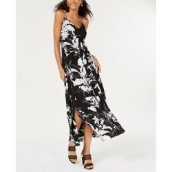 Bar III Women's Sleeveless V-Neck Floral Printed Slit Maxi Dress, Black, 2 (Black - 2)(polyester) found on Bargain Bro from Overstock for USD $21.28