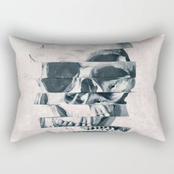 Rectangular Pillow   Glitch Skull Mono by Ali Gulec - Small (17