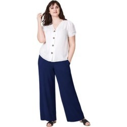 Plus Size Women's Wide-Leg Soft Pants with Back Elastic by ellos in Navy (Size 1X) found on Bargain Bro Philippines from Ellos for $32.90