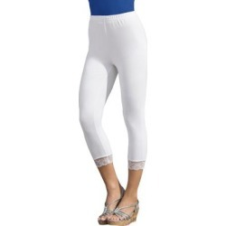 Plus Size Women's Lace-Trim Essential Stretch Capri Legging by Roaman's in White (Size 34/36) found on Bargain Bro Philippines from Roamans.com for $19.99