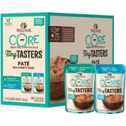 Wellness CORE Tiny Tasters Tuna & Salmon, Tuna Pate Sea Variety Pack Grain-Free Cat Food Pouches, 1.75-oz, pack of 12 found on Bargain Bro from Chewy.com for USD $7.93
