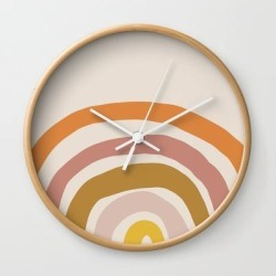 Wall Clock | Paint Rainbow by Urban Wild Studio Supply - Natural - White - Society6 found on Bargain Bro from Society6 for USD $19.45