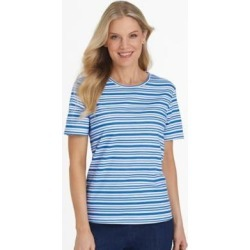 Women's Short-Sleeve Parfait Tee, Royal Stripe Blue S Misses found on Bargain Bro from Blair.com for USD $11.39