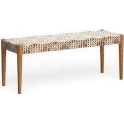 Safavieh Bandelier Wood and Leather Bench (Off White/Light Oak), Off White/Light Brown found on Bargain Bro from Overstock for USD $271.36