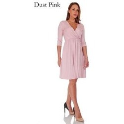 SR Women's Casual Maternity V Neck Wrap Knee Length Maxi Dress (Dust Pink - L)(jersey, Floral) found on Bargain Bro from Overstock for USD $22.79