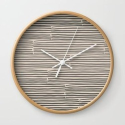 Wall Clock | Hand Drawn Light Lines - Charcoal by Urban Wild Studio Supply - Natural - White - Society6 found on Bargain Bro from Society6 for USD $19.45