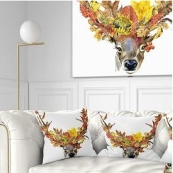Designart 'Roe Deer with Flowers' Floral Throw Pillow (Square - 18 in. x 18 in. - Medium), Red, DESIGN ART(Polyester) found on Bargain Bro from Overstock for USD $25.19