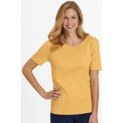 Women's Essential Knit Pintuck Tee, Sundance Yellow L Misses found on Bargain Bro India from Blair.com for $16.99