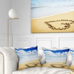 Designart 'Massive Heart Drawn on Serene Beach' Seascape Throw Pillow found on Bargain Bro from Overstock for USD $24.62