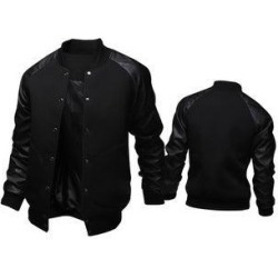 Leather Sleeve Men's Fashion Collar Jacket (Black - 3xl) found on Bargain Bro India from Overstock for $57.69