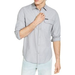 Calvin Klein Mens Shirt Convoy Gray Size 2XL Micro Stripe Button Up (2XL), Men's(cotton) found on Bargain Bro from Overstock for USD $28.86