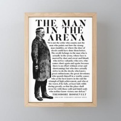 Framed Mini Art Print | Theodore Roosevelt 'man In The Arena' Powerful Motivational Speech by Wtlb - Light Wood - 3