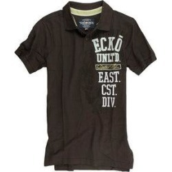 petite Ecko Unltd. Mens Ss Vertical Numeral Rugby Polo Shirt (Brown - X-Small), Men's(cotton, embroidered)
