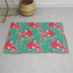 Scarlet Tigers On Lotus Flower Field. Modern Throw Rug by Iker Paz Studio - 2' x 3' found on Bargain Bro Philippines from Society6 for $39.20