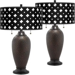 Crossroads Zoey Hammered Oil-Rubbed Bronze Table Lamps Set of 2 found on Bargain Bro Philippines from LAMPS PLUS for $149.99