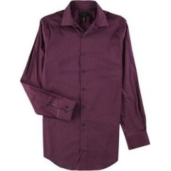 Alfani Mens Performance Stretch Button Up Dress Shirt (Purple - 16