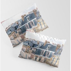 Roofs Of Paris King Size Pillow Sham by Takmaj - STANDARD SET OF 2 - Cotton