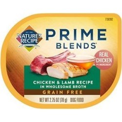 Nature's Recipe Prime Blends Chicken and Lamb Recipe Grain-Free Wet Dog Food, 2.75-oz tray, case of 12