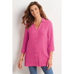 Women's Escambia Shirt by Soft Surroundings, in Magenta size XS (2-4)