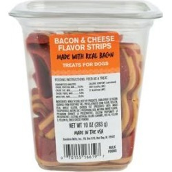 Meaty Treats Bacon & Cheese Flavor Strips Soft & Chewy Dog Treats, 10-oz canister