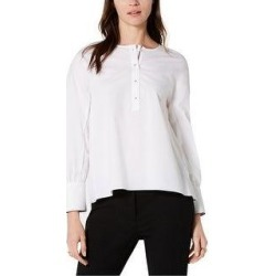 Tommy Hilfiger Womens Pleated Back Henley Blouse (White - XS), Women's(cotton, solid) found on Bargain Bro Philippines from Overstock for $48.12