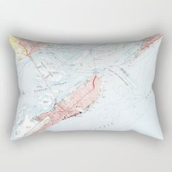 Rectangular Pillow   Vintage Map Of Ocean City Nj (1952) by Bravuramedia - Small (17
