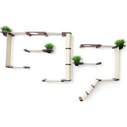 CatastrophiCreations Garden Complex Wall Mounted Cat Tree Shelf Set with Cat Grass Planter, English Chestnut/Natural