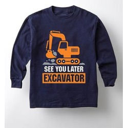 Instant Message Boys' Tee Shirts NAVY - Navy 'See You Later Excavator' Long-Sleeve Tee - Toddler & Boys found on Bargain Bro from zulily.com for USD $9.87