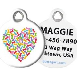 Dog Tag Art Heart of Bones Personalized Dog & Cat ID Tag, Large