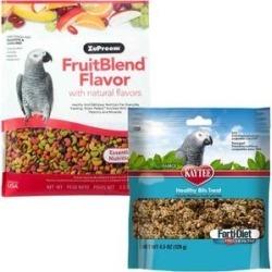 ZuPreem FruitBlend Flavor Parrot & Conure Food, 3.5-lb bag & Kaytee Forti-Diet Pro Health Healthy Bits Parrot Bird Treats, 4.5-oz bag