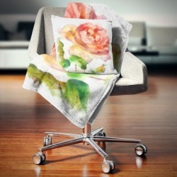 Designart 'Bloomy Red Rose Watercolor Drawing' Floral Throw Blanket found on Bargain Bro from Overstock for USD $51.35