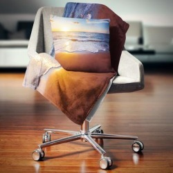 Designart 'Stunning Blue Waves and Brown Sand' Beach Photo Throw Blanket found on Bargain Bro from Overstock for USD $50.71