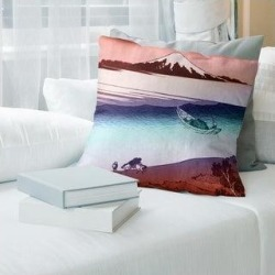 Porch & Den Katsushika Hokusai 'Tama River in Musashi Province' Throw Pillow (20 x 20 - Red & Blue - Cotton), Multicolor found on Bargain Bro from Overstock for USD $57.75
