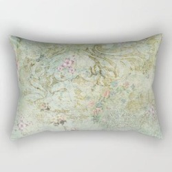 Rectangular Pillow | Vintage French Floral Wallpaper by Jmariellearts - Small (17
