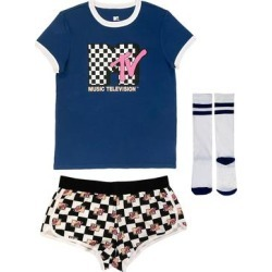 MJC USA Women's Socks MULTI - MTV Navy & White Logo Boxer Sleep Set - Juniors found on Bargain Bro Philippines from zulily.com for $17.99