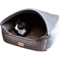 Armarkat Collasible Zipper Top Cuddle Cave Cat Bed, Bronze & Silver