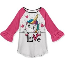 Penelope Plumm Girls' Tunics - Pink Unicorn 'Love' Ruffle-Sleeve Raglan Tee - Toddler & Girls found on Bargain Bro India from zulily.com for $11.99