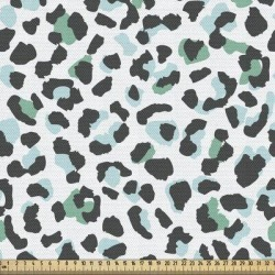 East Urban Home Ambesonne Leopard Fabric By The Yard, Abstract Colored Animal Skin Print Spots Pattern Cold Tones in White, Size 58.0 H x 36.0 W in found on Bargain Bro Philippines from Wayfair for $20.61