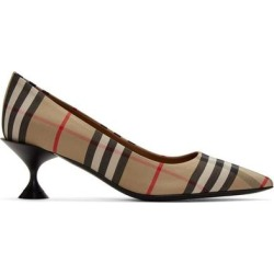 Beige Check Lillyton Heels - Brown - Burberry Heels found on Bargain Bro India from lyst.com for $590.00