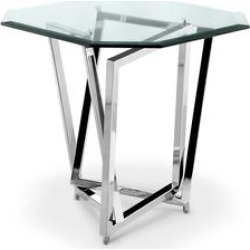 Lenox Square Modern Chrome Metal and Glass End Table found on Bargain Bro from Overstock for USD $286.52